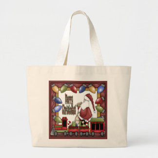 Merry Christmas Train Large Tote Bag