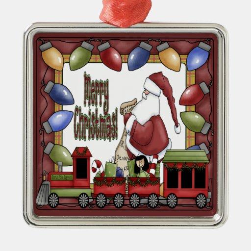 Merry Christmas Train Square Metal Christmas Ornament