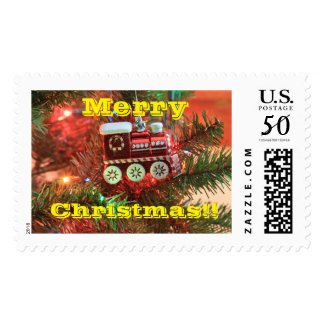 Merry Christmas Train Postage Stamp