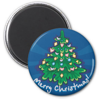 Merry Christmas Tree 2 Inch Round Magnet