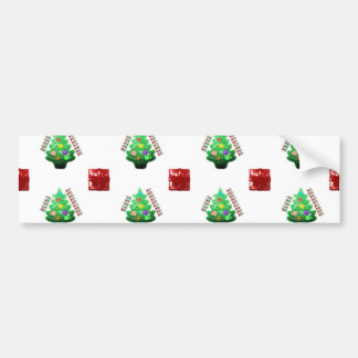 Merry Christmas Tree and Gift Bumper Stickers