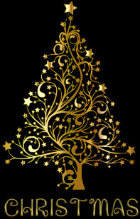 Merry Christmas Tree Black Gold Shiny Typography Holiday Card