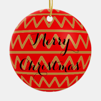 Merry Christmas Tree Bulb Red Gold Stripe Pattern Ceramic Ornament
