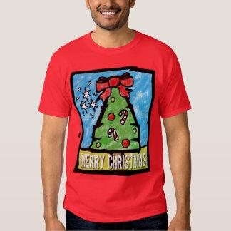 Merry Christmas Tree Cartoon Style Tee Shirt