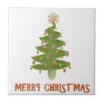 Merry Christmas Tree Ceramic Tile