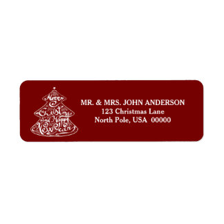MERRY CHRISTMAS TREE CHALKBOARD RED RETURN ADDRESS LABEL