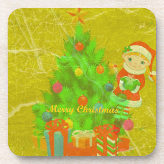 merry christmas tree drink coaster