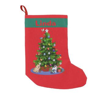 Merry Christmas Tree, Customizable Name Small Christmas Stocking
