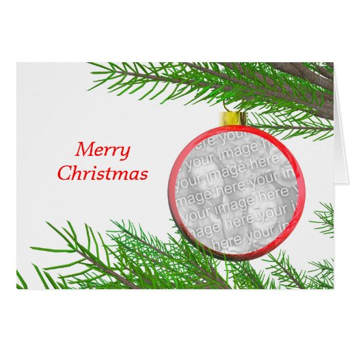 Merry Christmas Tree Decoration (photo frame) Greeting Card