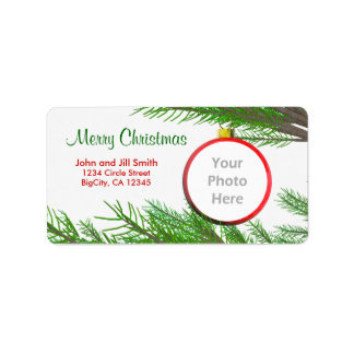 Merry Christmas Tree Decoration Photo Frame Address Label