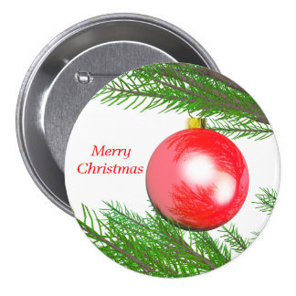 Merry Christmas Tree Decoration Pinback Button