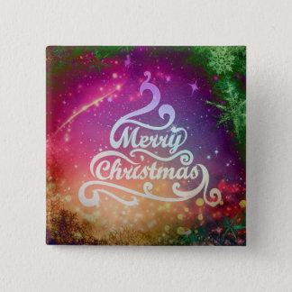 Merry Christmas Tree Design Square Button