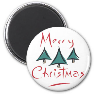 Merry Christmas Tree Doodle 2 Inch Round Magnet