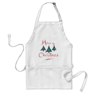 Merry Christmas Tree Doodle Adult Apron