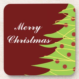 Merry Christmas Tree Drink Coasters