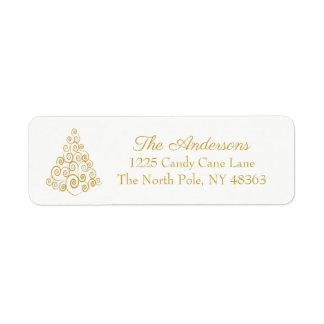 Merry Christmas Tree Elegant Return Address Labels