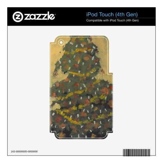 Merry Christmas Tree FolkArt Designer Holiday iPod Touch 4G Decals