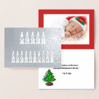 Merry Christmas Tree Font, Add Photo, Verse, ZAtoZ Foil Card