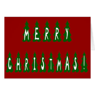 Merry Christmas Tree Font Greeting Card