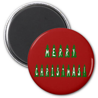 Merry Christmas Tree Font Magnet