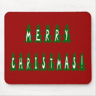 Merry Christmas Tree Font Mouse Pad