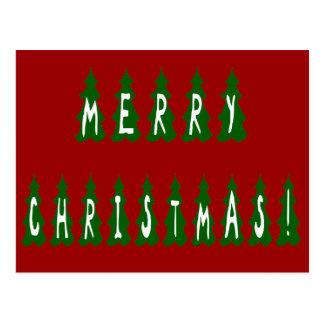 Merry Christmas Tree Font Postcard