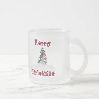 Merry Christmas Tree Frosted Glass Coffee Mug