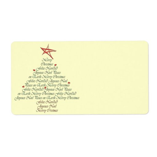 Merry Christmas Tree Gift Labels