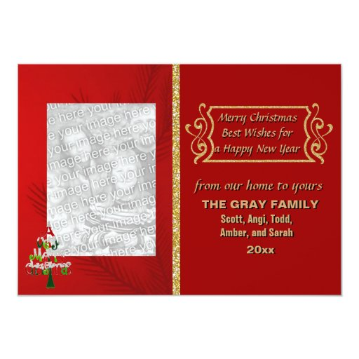 "Merry Christmas Tree Glitter Double Sided 2 Photo 5"" X 7"" Invitation Card"