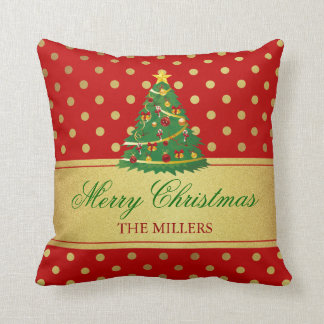 Merry Christmas Tree - Gold Glitter Polka Dots Throw Pillow