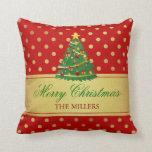 Merry Christmas Tree - Gold Glitter Polka Dots Throw Pillows