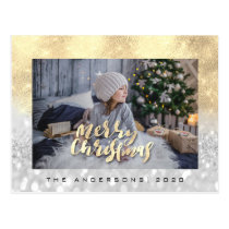 Merry Christmas Tree Gray Gold Spark Photo Glitter Postcard