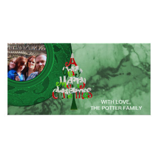 Merry Christmas Tree Green Holiday Photo Card