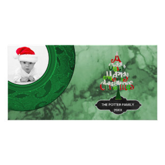 Merry Christmas Tree Green Marble | Holiday Photo Card