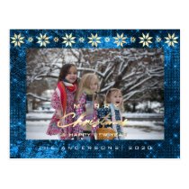 Merry Christmas Tree Happy New Year Gold Blue Navy Postcard
