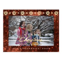 Merry Christmas Tree Happy New Year Gold Bronze Postcard