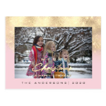 Merry Christmas Tree Happy New Year Gold Glitter Postcard
