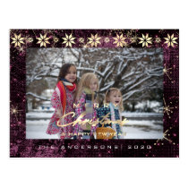 Merry Christmas Tree Happy New Year Gold Orchid Postcard