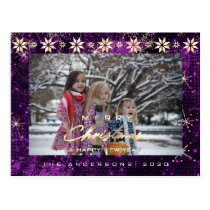 Merry Christmas Tree Happy New Year Gold Plum Postcard