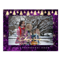 Merry Christmas Tree Happy New Year Gold Purple Postcard