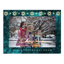 Merry Christmas Tree Happy New Year Gold Teal Aqua Postcard