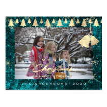 Merry Christmas Tree Happy New Year Gold Teal Postcard