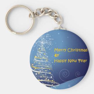merry christmas tree happy new year keychain