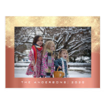 Merry Christmas Tree Happy Year Coral Gold Glitter Postcard