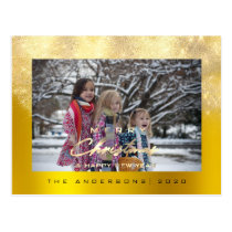 Merry Christmas Tree Happy Year Gold Glitter Lux Postcard