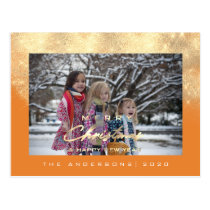 Merry Christmas Tree Happy Year Gold Glitter orang Postcard