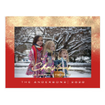 Merry Christmas Tree Happy Year Gold Glitter Red Postcard