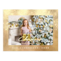 Merry Christmas Tree Happy Year Gold Linen Glitter Postcard