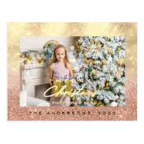 Merry Christmas Tree Happy Year Gold Rose Glitter Postcard