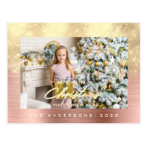 Merry Christmas Tree Happy Year Metal Gold Brushed Postcard